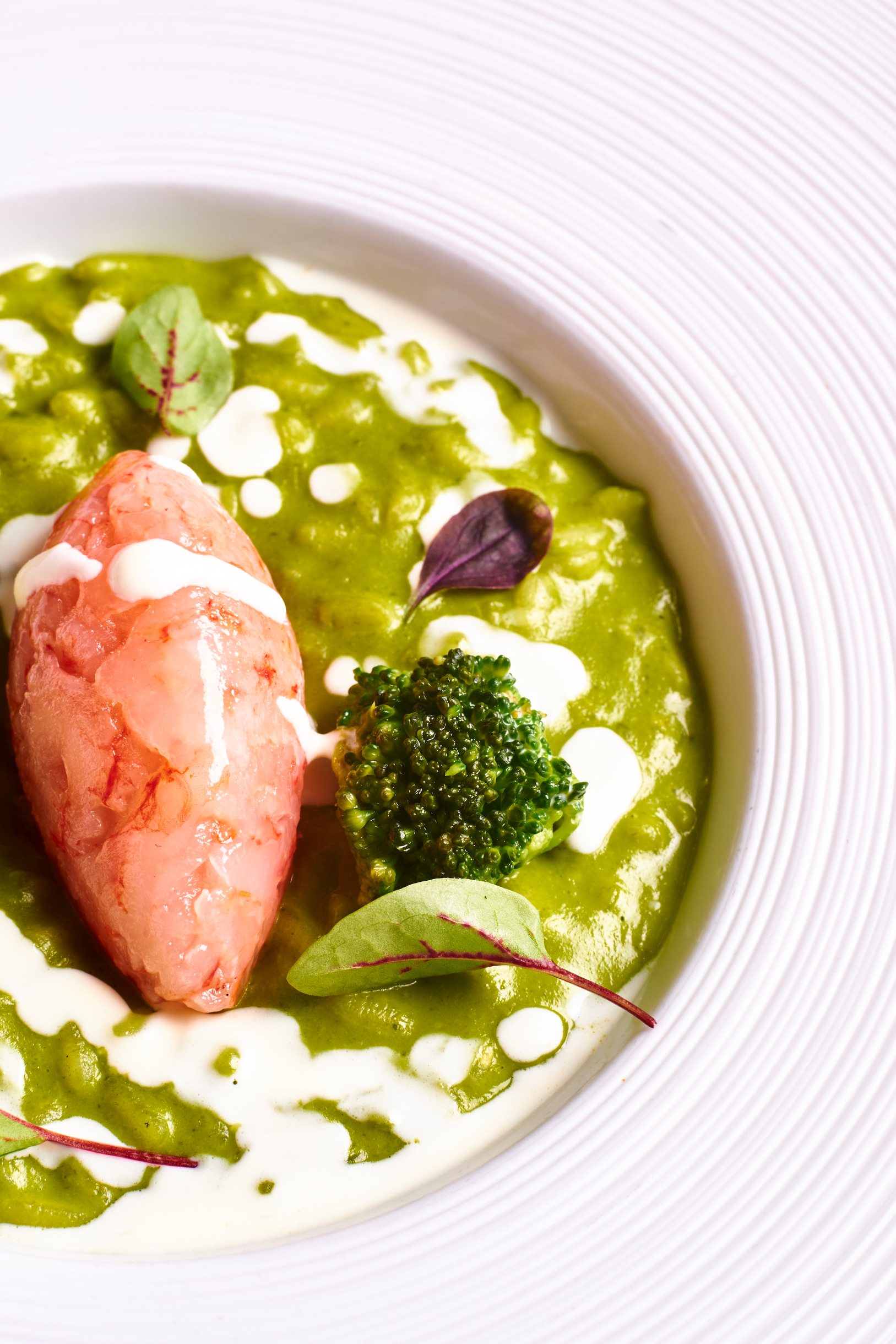 Risotto with mozzarella cream, broccoli and prawns
